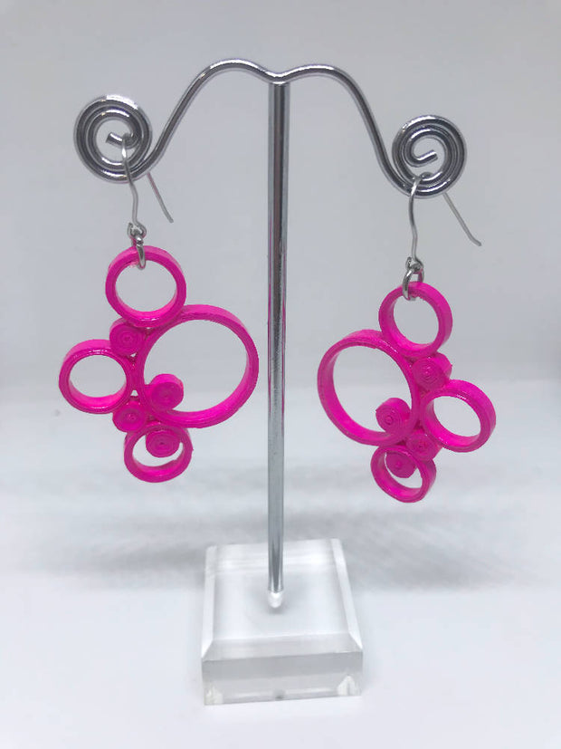 Pink quilled earrings made from paper