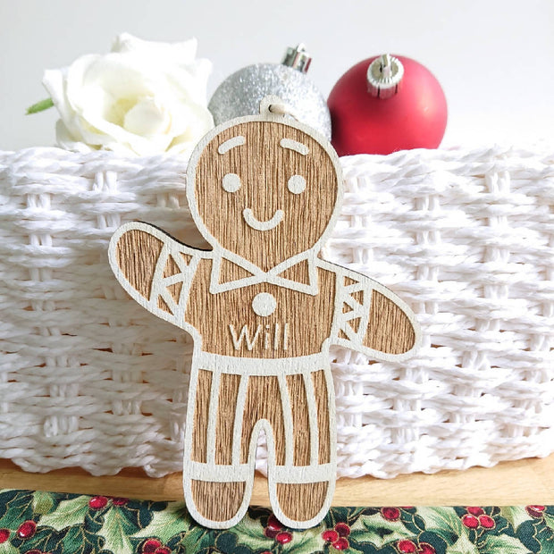 Christmas deco's - Personalised Wooden Gingerbread People