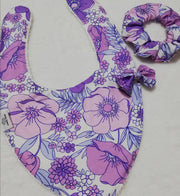 Retro Irene- Mom and Bub matching set- bib, bow and scrunchie