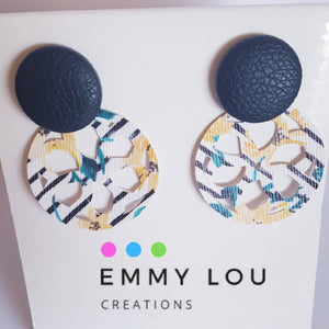 White & Yellow Floral Cut Out Faux Leather Earrings on Black Studs