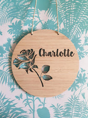 Rose Wall Hanging (Bamboo or Pastel Coloured Acrylic)