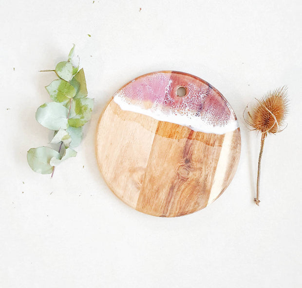 Pink Ocean Cheeseboard/ Serve board. Small and chic style