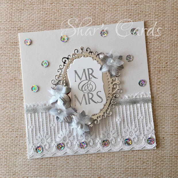Silver and sequins Wedding Card