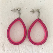 Pink stripe oval quilled earrings - you won't believe it's paper!