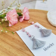 Pink Trio Grey Tassel Earrings