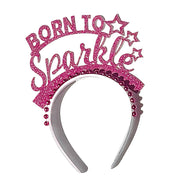 Born to sparkle birthday headband/ glitter crown party hat