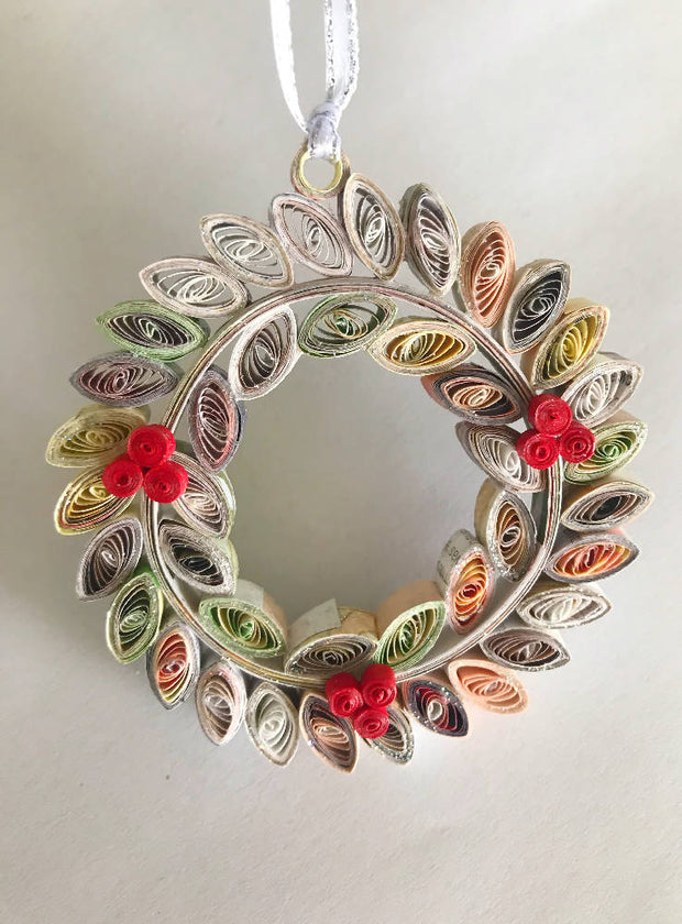 Christmas wreath - recycled paper, made to order