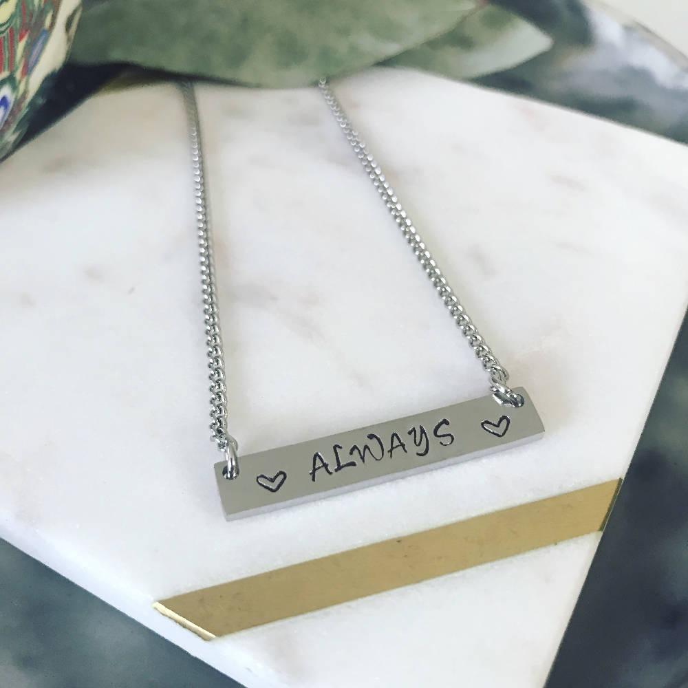 Always Hand Stamped Bar Pendant Necklace