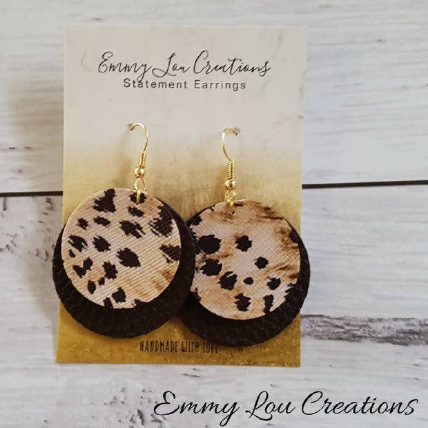 SALE ~ Animal Print Double Layer Round Faux Leather Earrings ~ FREE SHIPPING
