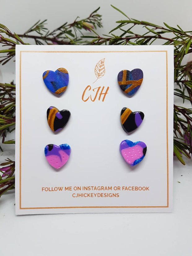 Blue, Pink and Black Polymer Clay Heart Stud Packs