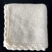 Hand-knitted wool baby pram blankets - shell edged - 3 colours