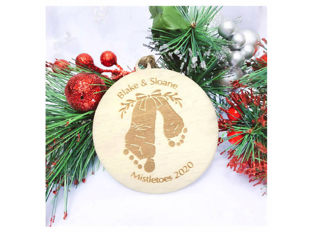 personalised christmas decoration - sibling footprints