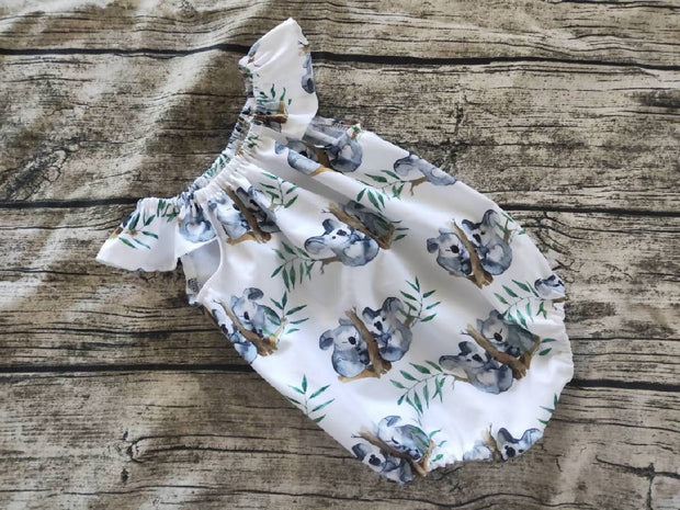 Koala Romper, koala Dress, grey white Romper grey and white Dress, koala Outfit, aussie Dress Aussie romper