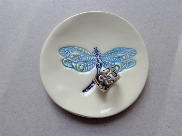 Dragonfly small ceramic dish, blue insect whimsy pottery ring jewelry tealight soap holder
