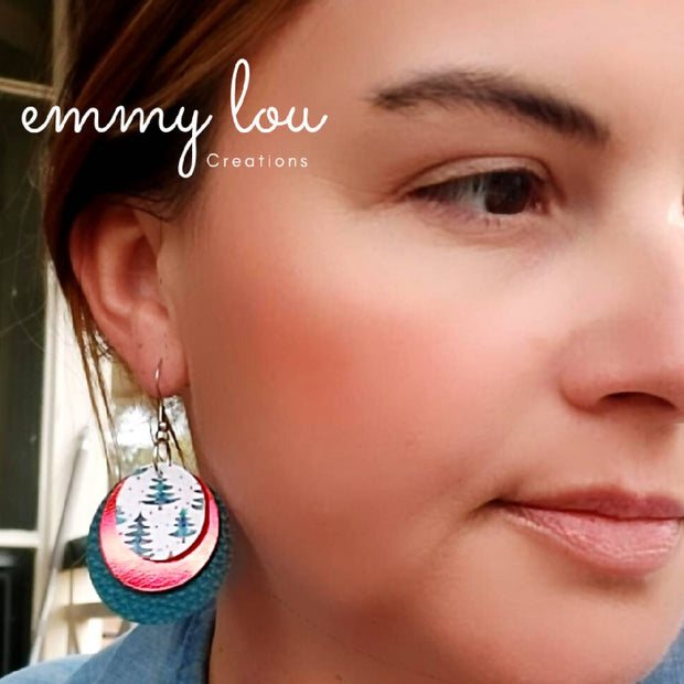 Round Faux Leather Christmas Earrings