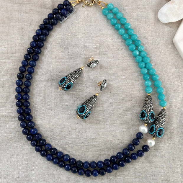 Lapis, Amazonite, F.W.Pearl and Onyx Necklace