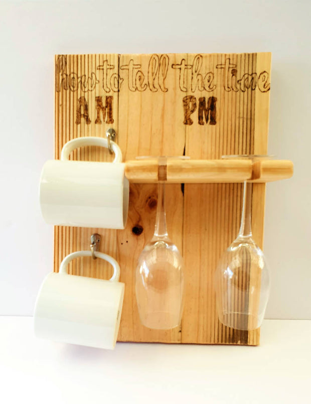 Wooden Coffee Cup and Wine Glass Holder