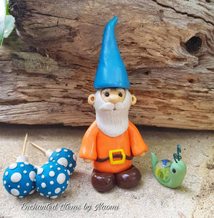Blue Hat Gnome Fairy Garden Set