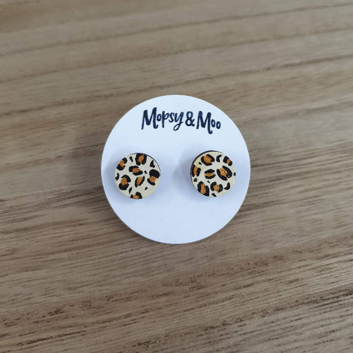 Hand-painted Leopard Print Earrings **RED CROSS BUSHFIRE APPEAL**