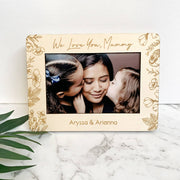 Personalised wooden photo frame - Floral design
