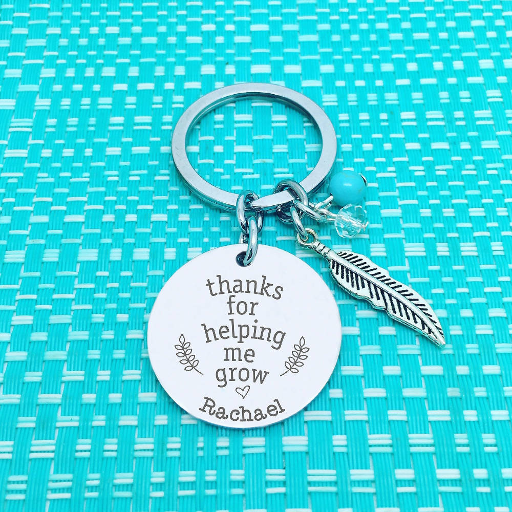 Teacher Gifts - Personalised Thanks For Helping Me Grow Keychain