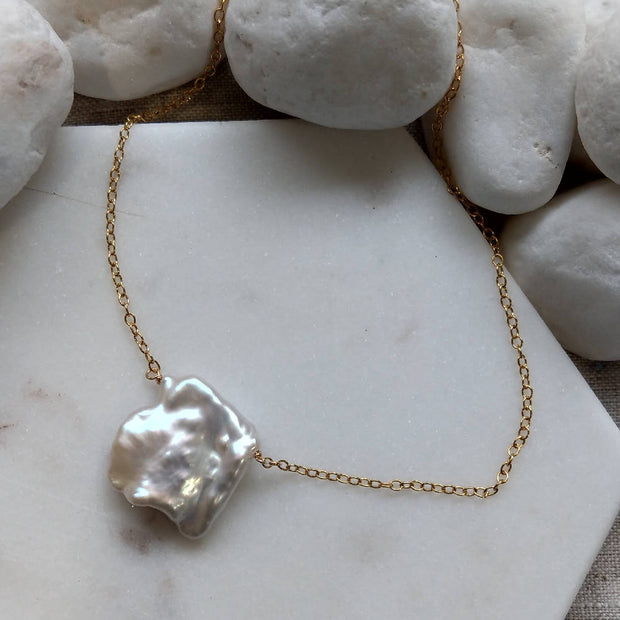 Keshi Freshwater Pearl Gold or Silver Necklace