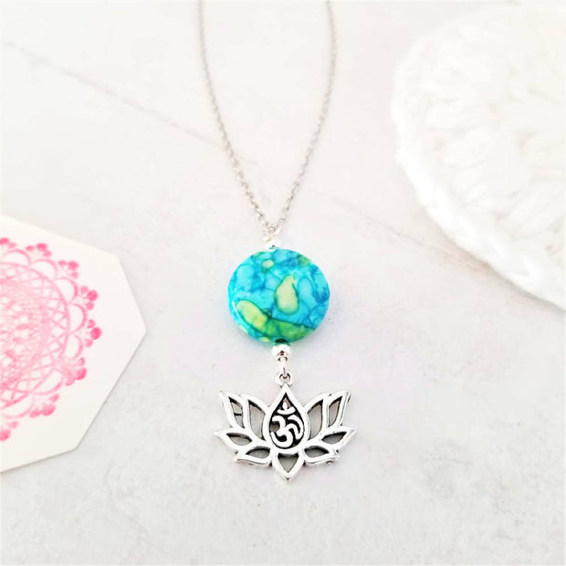 Rainbow Riverstone Lotus Omh Necklace