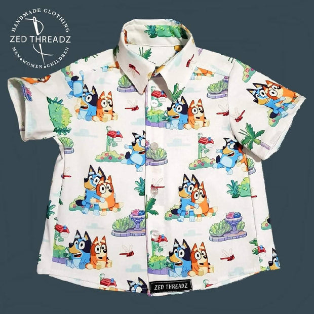 Button up shirt licensed fabric (sizes 0000 to 5) FEBRUARY PRE-ORDER