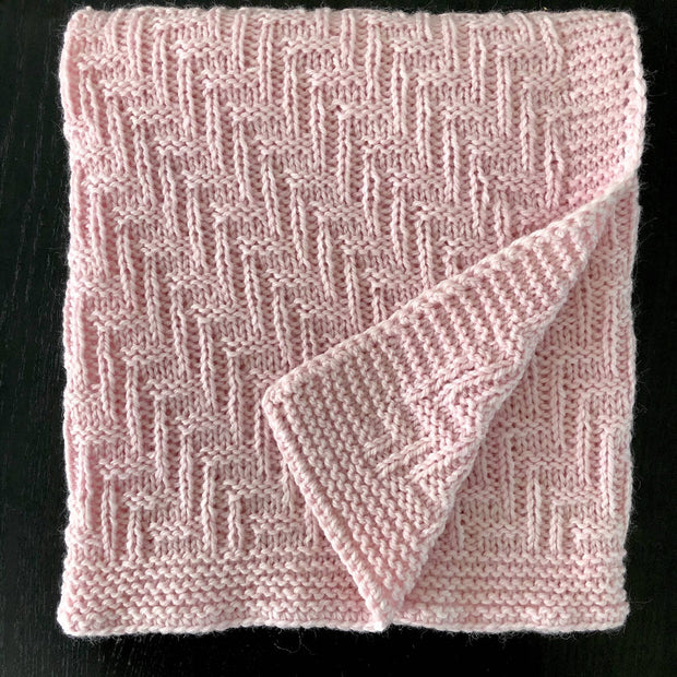 Hand-knitted wool baby pram blankets - herringbone pattern - 5 colours