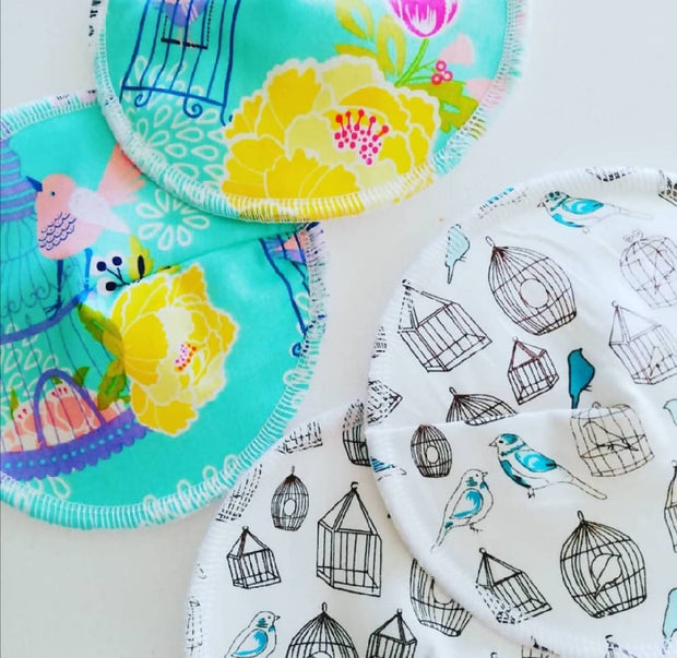 Birds and cages reusable nursing pads - Set of 2