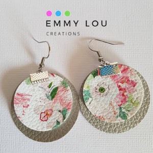 Double Layer Silver and Pink Floral Round Faux Leather Earrings