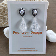 Clear Quartz Freshwater Pearl Rhinestone Rhodium plate Earrings