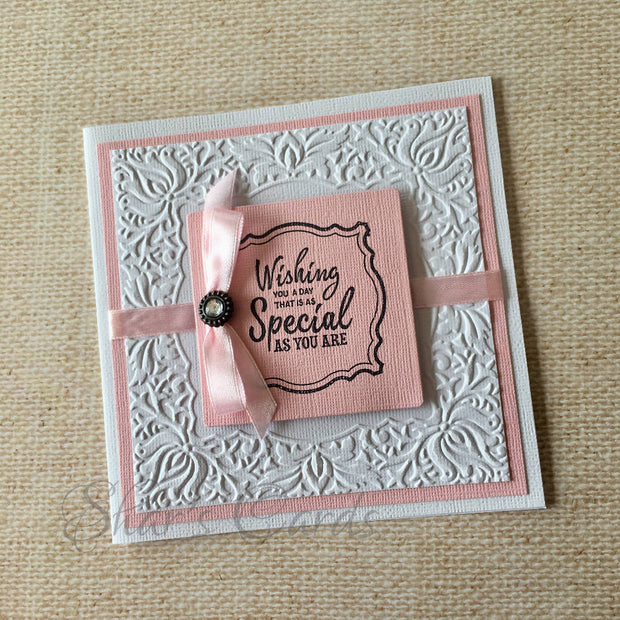 White embossed Birthday card, with colour POP