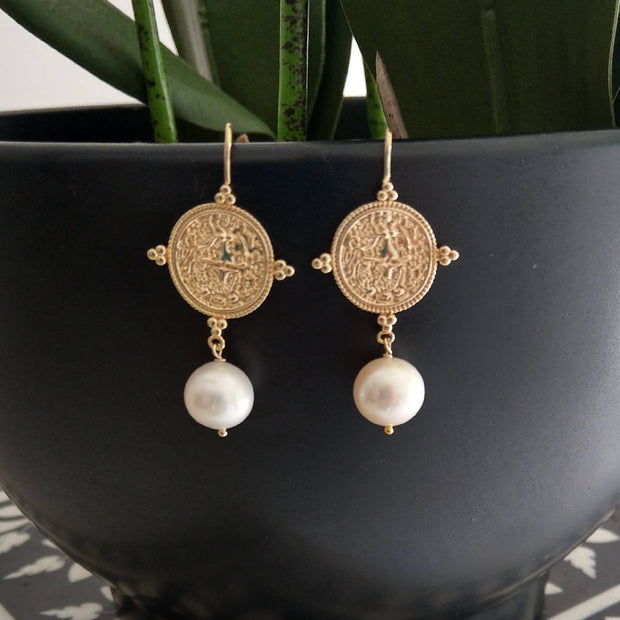 Goddess Greek coin Pearl Earrings
