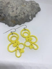 Sunshine Yellow quilled earrings made from paper.