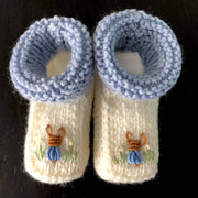 Baby gift sets - hand knitted & embroidered merino booties & bonnet