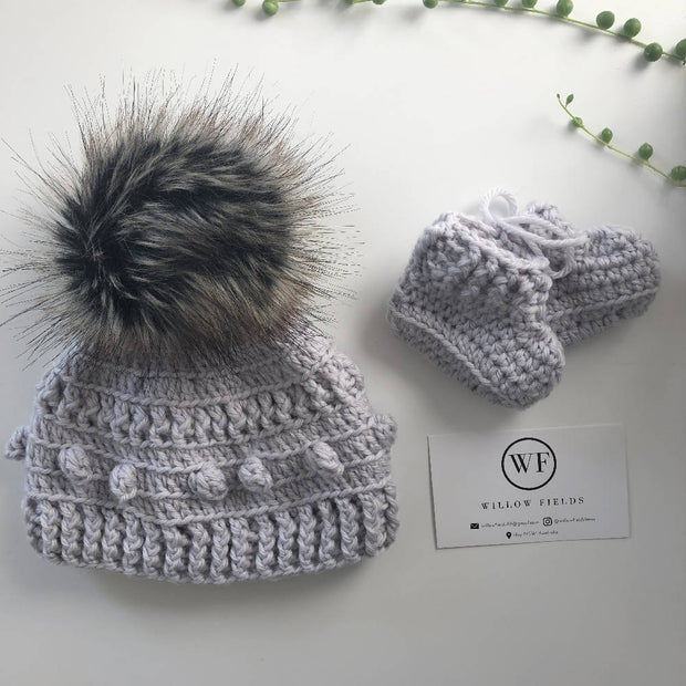 Newborn Beanie and Booties Bundle
