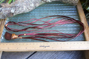 Reclaimed Salvaged Wire Wrapped Pendant & Red / Gold Cord & Ribbon Necklace