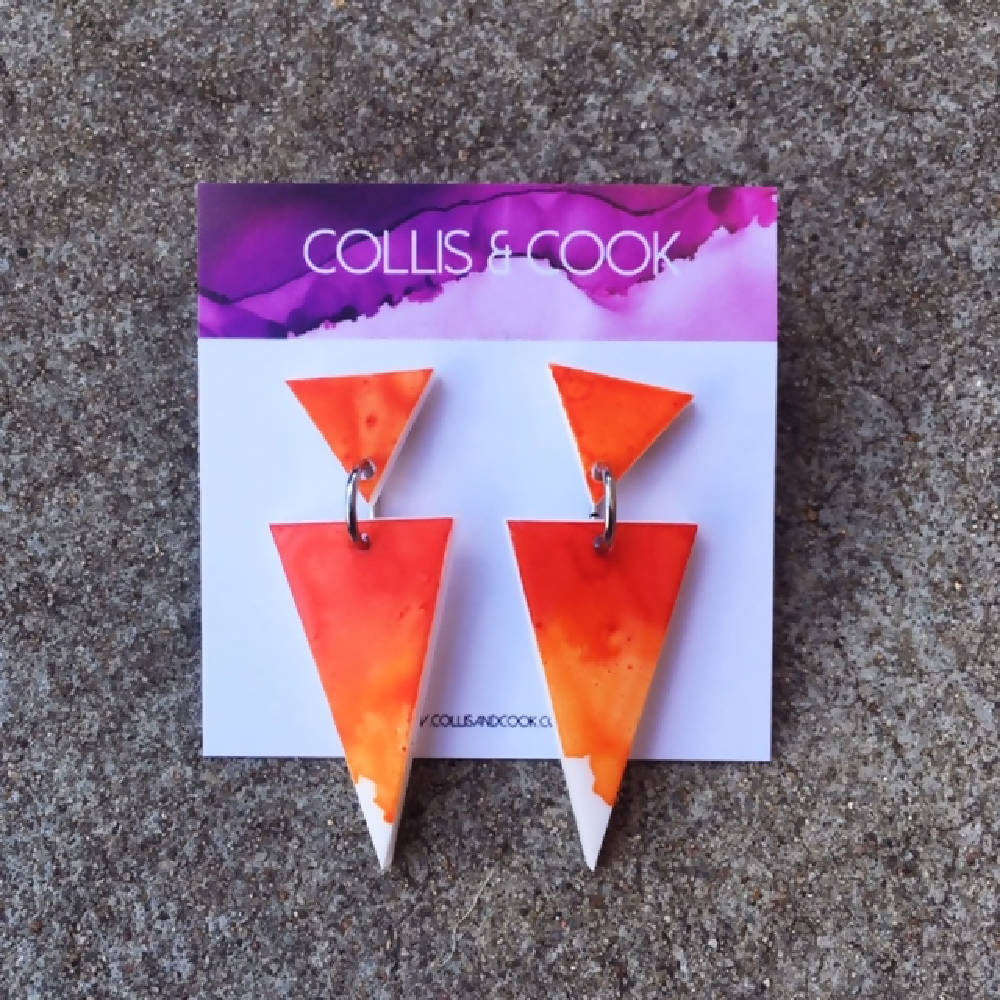 Orange & Red Triangle Dangles