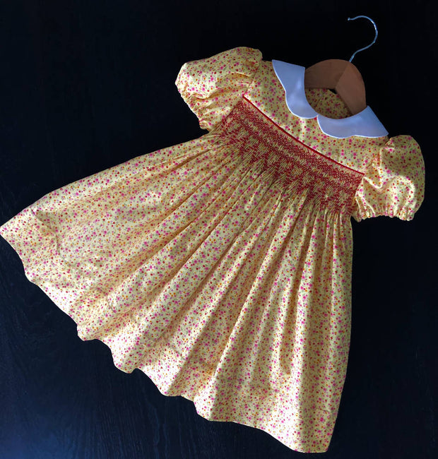 Smocked dress - yellow floral - size 3