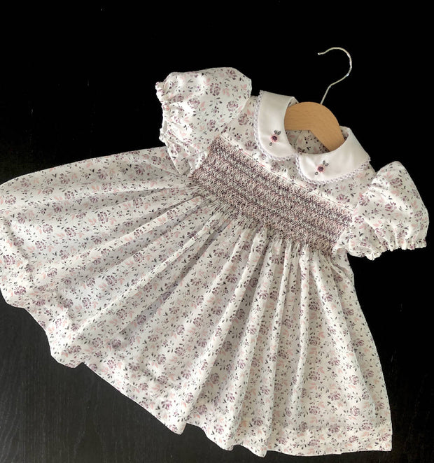 Smocked dress - pastel floral - size 1 - one of a kind