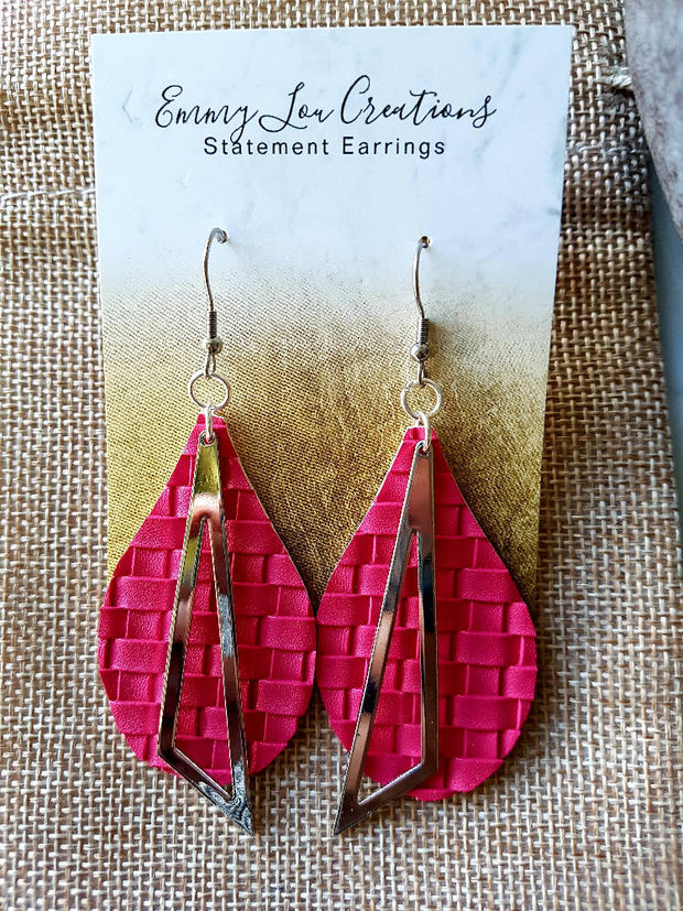 Bright Pink Weaved Faux Leather Earrings with Silver Pendant