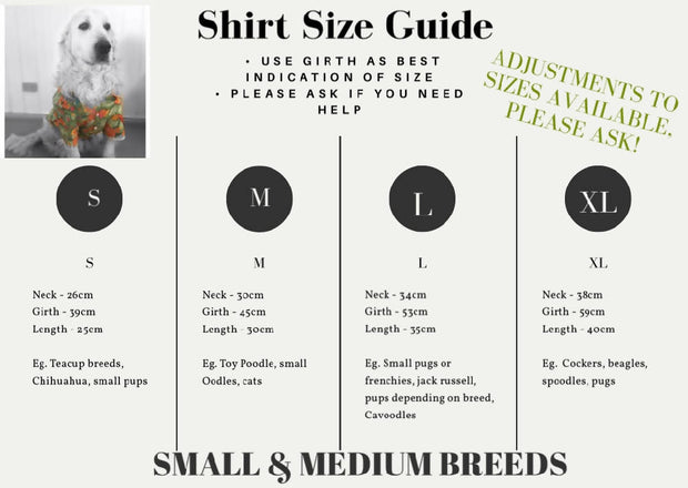 Pet Shirt - Donuts - Small to XLarge and wide neck sizes!