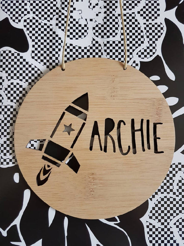 Rocket Wall Hanging (Bamboo or Pastel Coloured Acrylic)