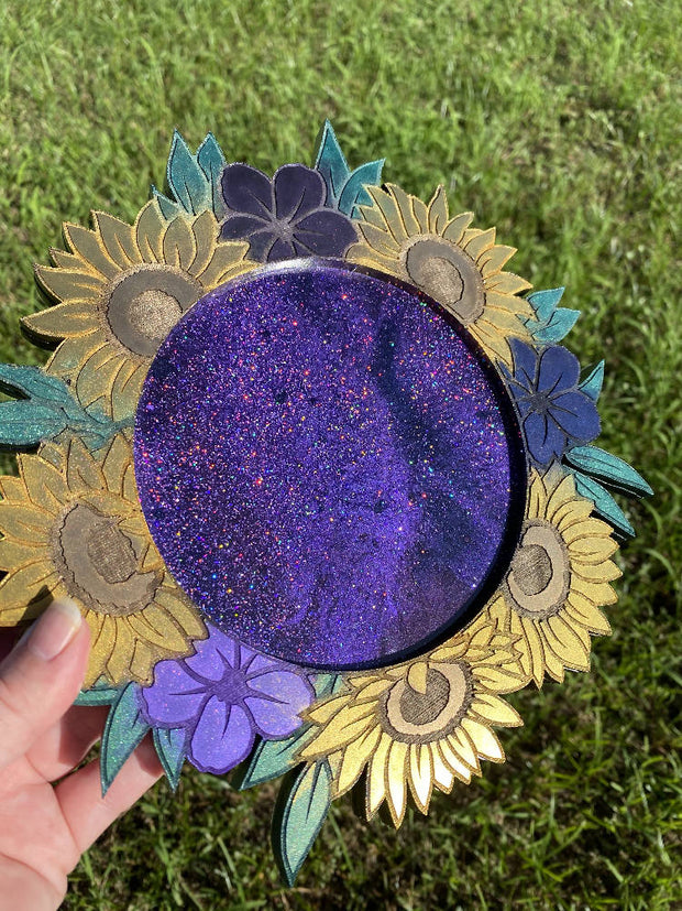 Sunflower Floral Tray - Glitter
