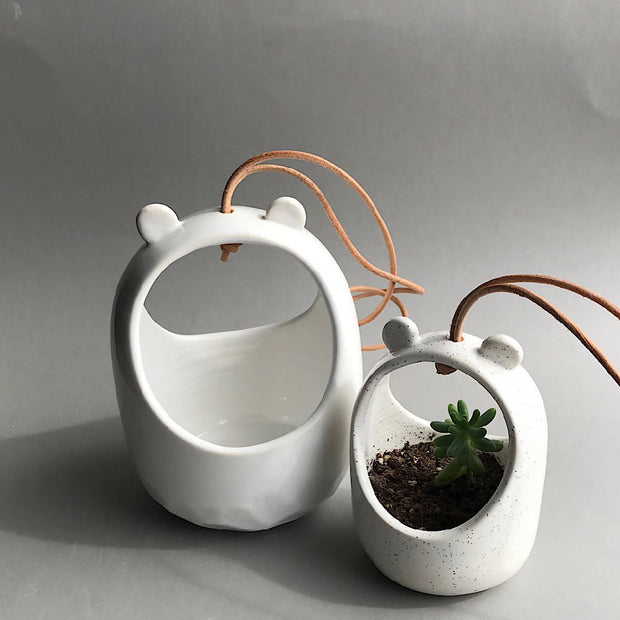Handmade ceramic hanging planter with teddy ears