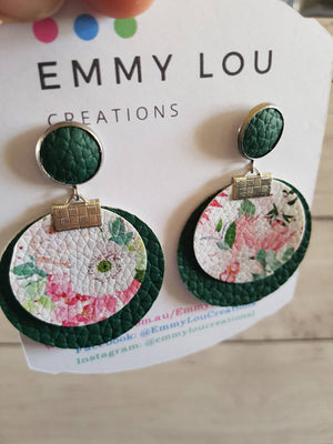 Double Layer Olive Green and Pink Floral Round Faux Leather Earrings on Studs
