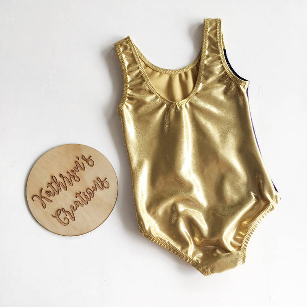 Metallic Gold and Purple Basic Leotard