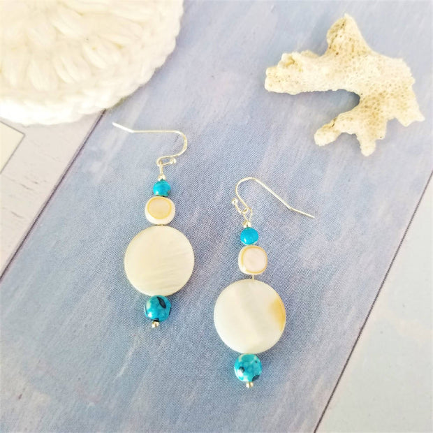 Blue Agate Shell Earrings
