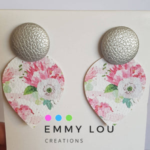 Pink Floral Tear Drop Faux Leather Earrings with Silver Faux Leather Studs